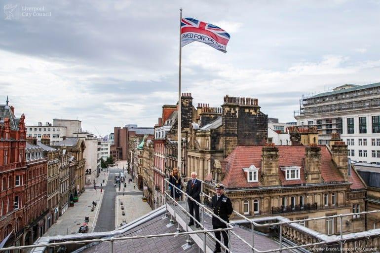 Lord Mayor Councillor Anna Rothery hoisting the flag